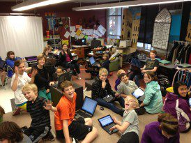 7th graders working on Young Playwrights Program.