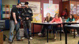 "Shooting a classroom scene with the female lead ""Katy""."