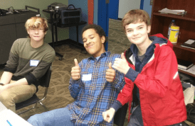 From left to right, 6th graders James Cecil, Sam McGee, and Andreas Derickson