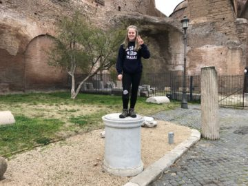 Regan Thomas in Rome, Italy, on the recent 8th grade trip.