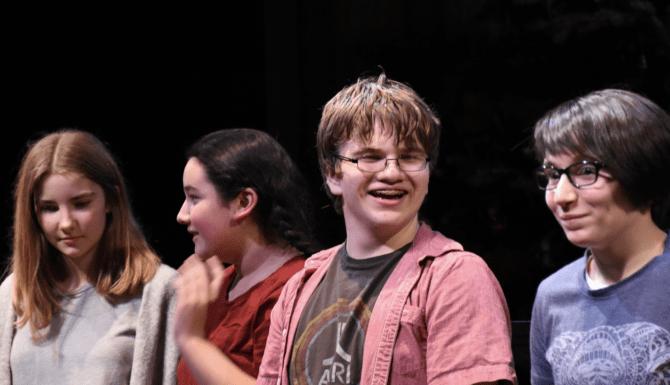 8th grade playwrights Shona, Sofia, Connor and Cece