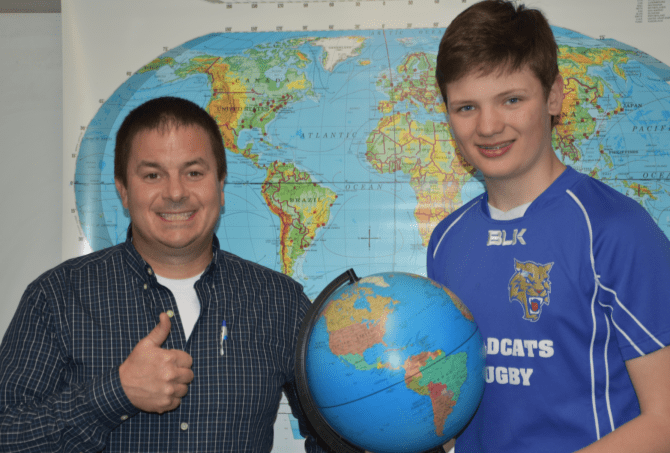 EW Social Studies Teacher Tim Owens and 8th Grader Luke Leddy